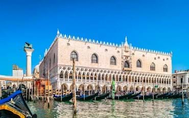 View of the exterior of the Doge's Palace from a gondola in Venice