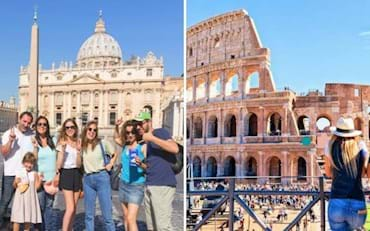 Tourists visiting the two most famous venues in Rome, the Colosseum and St. Peter Basilica