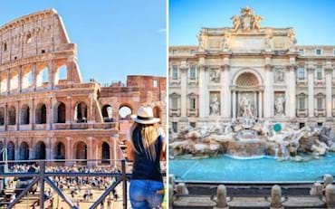Two of the most famous sites in Rome, the Colosseum and the Trevi fountain