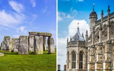 View of Stonehenge and Windsor Castle in England