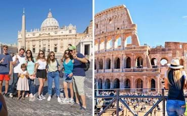 Tourists visiting the two most famous venues in Rome, the Colosseum and the Vatican
