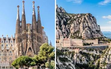 Front view of the Sagrada Familia and a Panoramic view of Montserrat in Barcelona