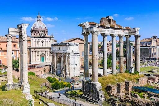 View of the Roman Forum on a sunny day in Rome