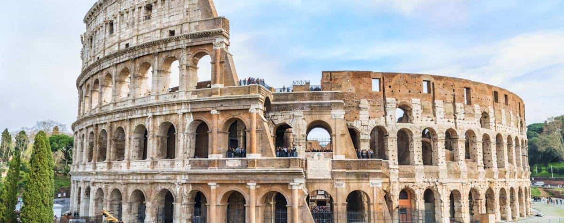 Front view of the Colosseum on a sunny day in Rome