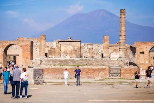 Tourists visiting Pompeii