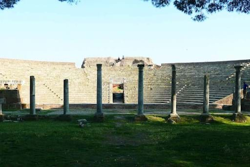 View of the amphitheatre in Ostia from front