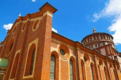 View of the Church of Santa Maria delle Grazie where the Last Supper is kept