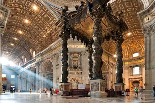 Beautiful interior and Altar of St. Peter's Basilica in the Vatican