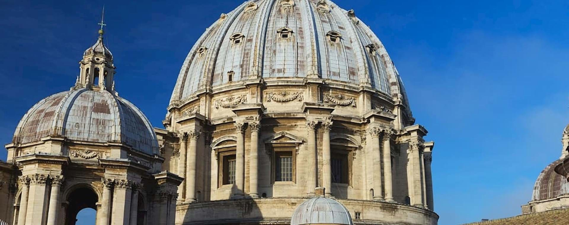 St. Peter's Basilica Dome seen from the Basilica's rooftop on a sunny day