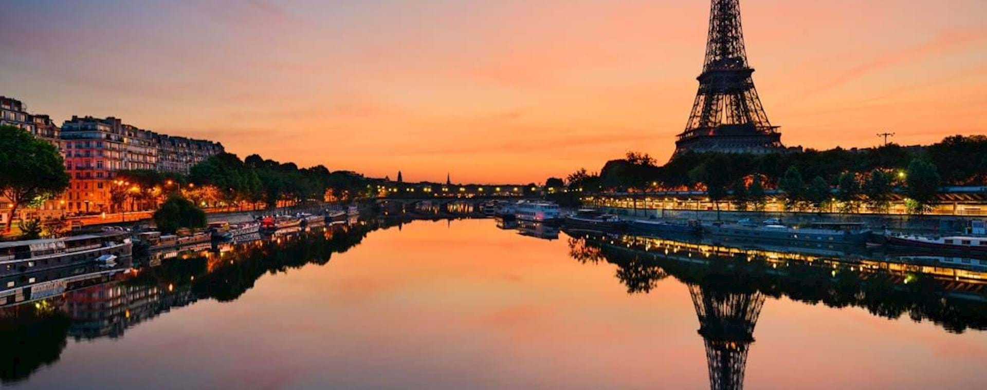 View of the Eiffel Tower at Sunset from the Cruise