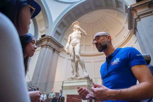 Guided tour in front of Michelangelo's David