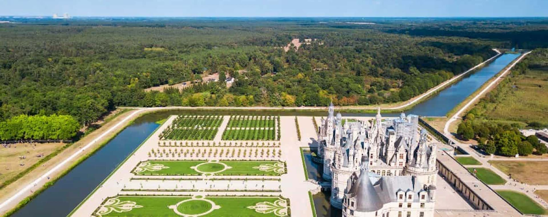 Areal view of the Chambord Castle