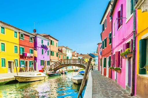Beautiful view of the canal in Burano