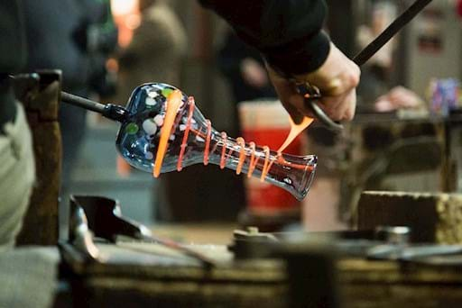 Live glass blowing experience in Murano