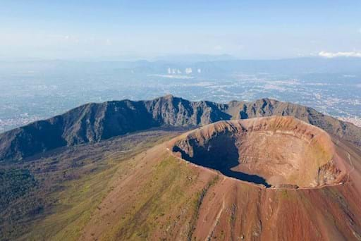 areal view of the crater of the Vesuvius vulcano