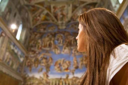 Girl admiring the Sistine Chapel