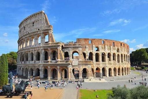 View of the Colosseum on a sunny day