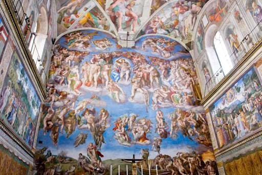 View of the Last Judgment inside the Sistine Chapel