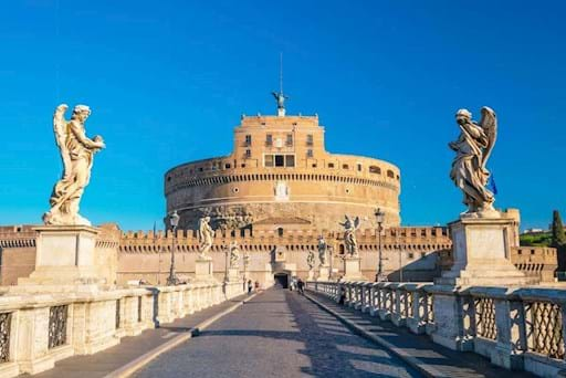 view of Castel Sant' Angelo from bridge of Angels