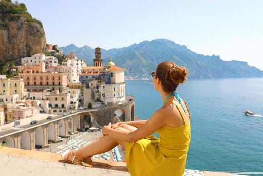 Girl enjoying the view of Positano