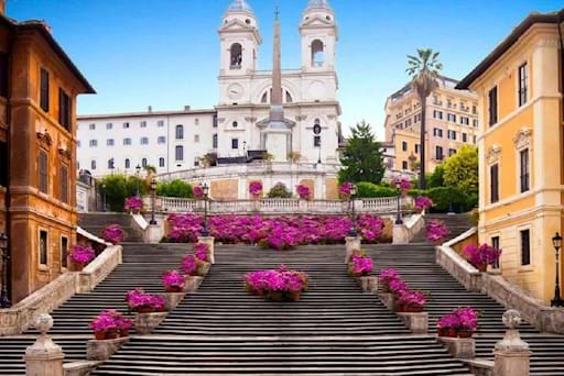 Amazing view of the Spanish Steps in Rome