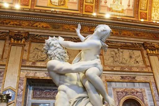 Famous Bernini's statue The Rape of Proserpina inside the Borghese Gallery