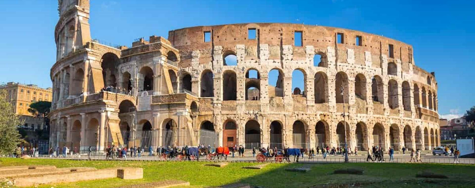 view of the magnificent Colosseum in Rome