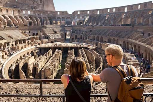 Couple admiring the Underground of the Colosseum