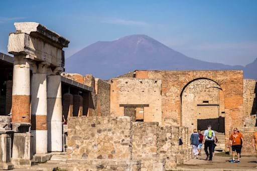 people walking around Pompeii