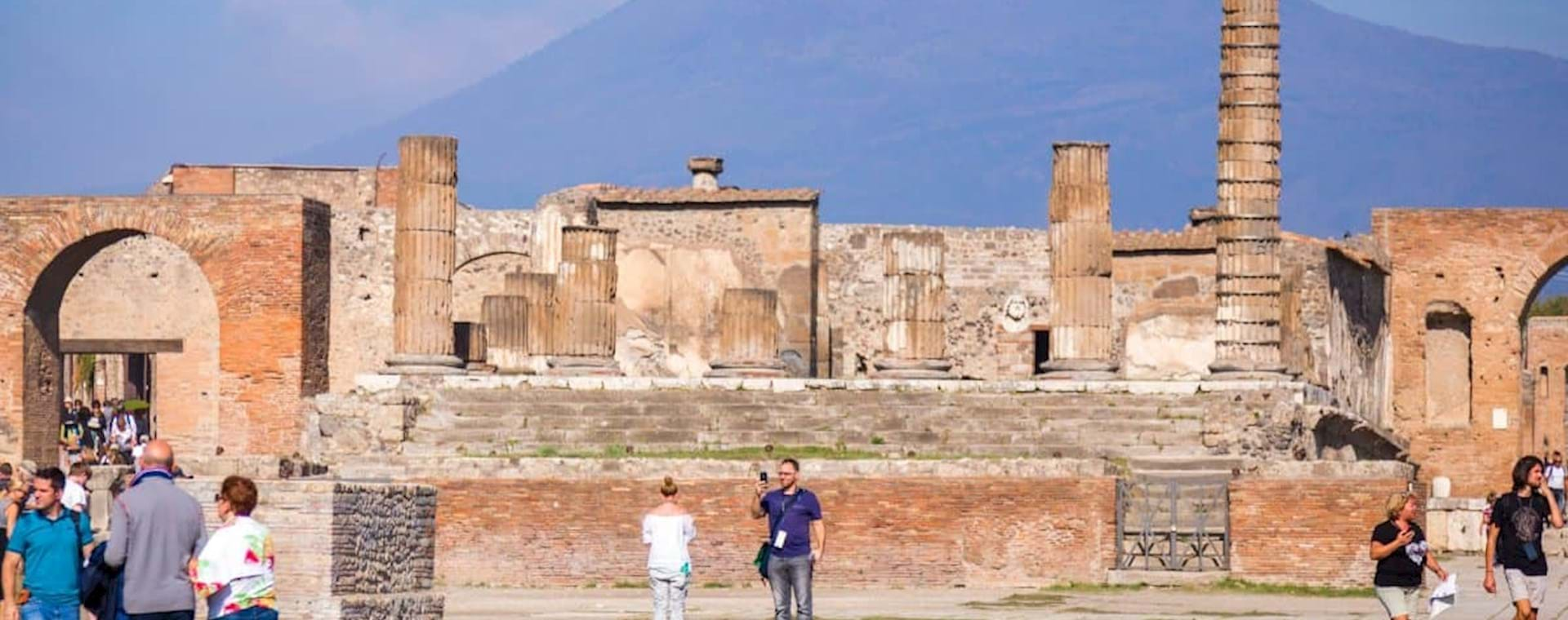 people walking around Pompeii