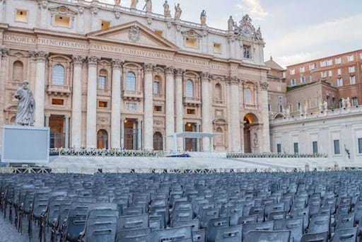 Chairs in St Peter Square ready for the Papal Audience