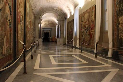 An empty corridor in  the Vatican Museums