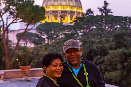 Couple enjoying their night tour of the Vatican