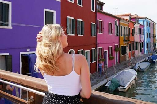girl enjoying the view of Murano