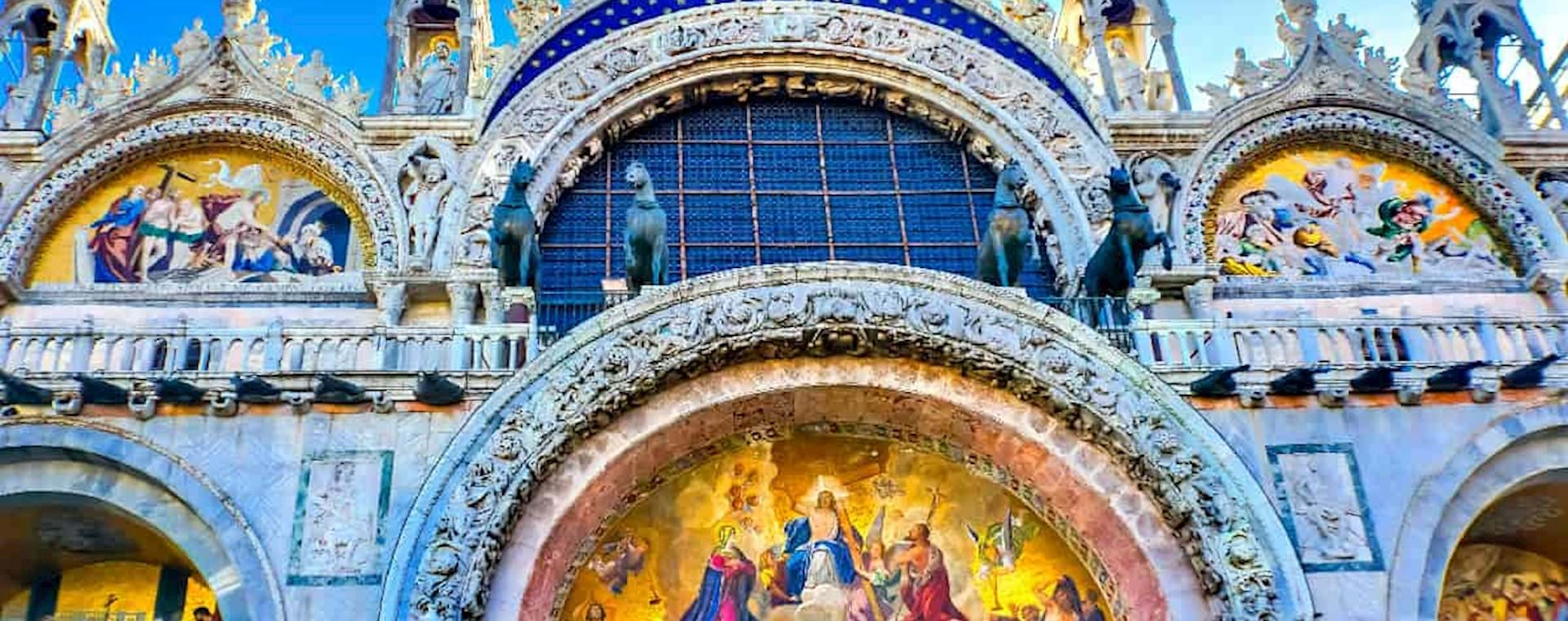 View of the front Entrance of St Mark Basilica in Venice