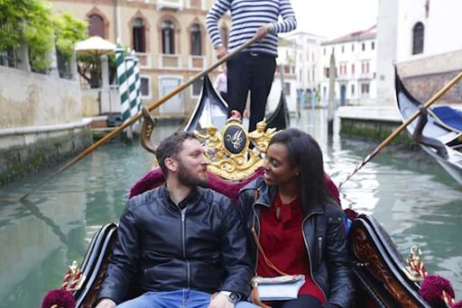 Beautiful couple on a gondola