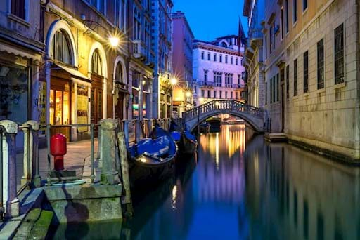 view of a canal in Venice at night
