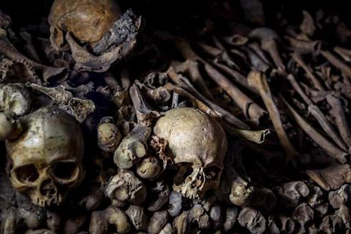 Skulls and Bones in the Catacombs of Paris