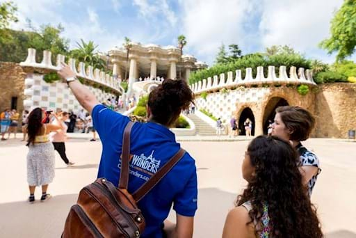Park Guell on a sunny day in Barcelona