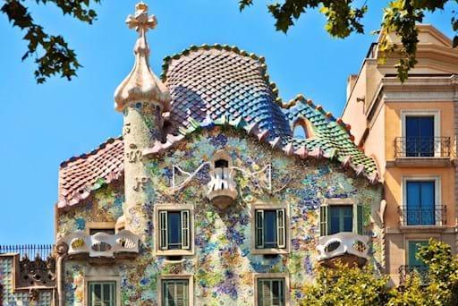 Beautiful facade of Casa Batlo in Barcelona