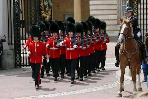 Changing of the guards in Buckingham Palace
