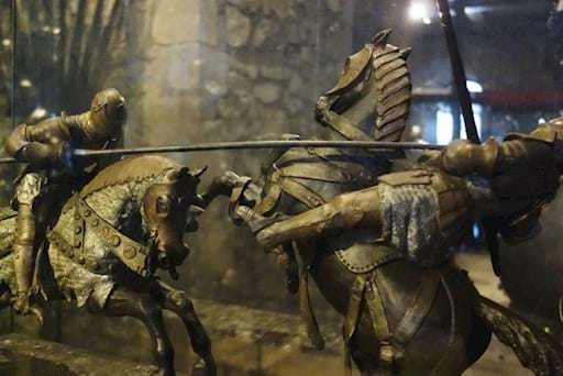 knights fighiting on horses