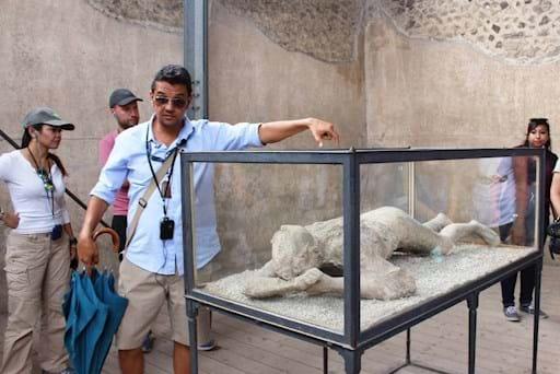 Tour guide in Pompeii