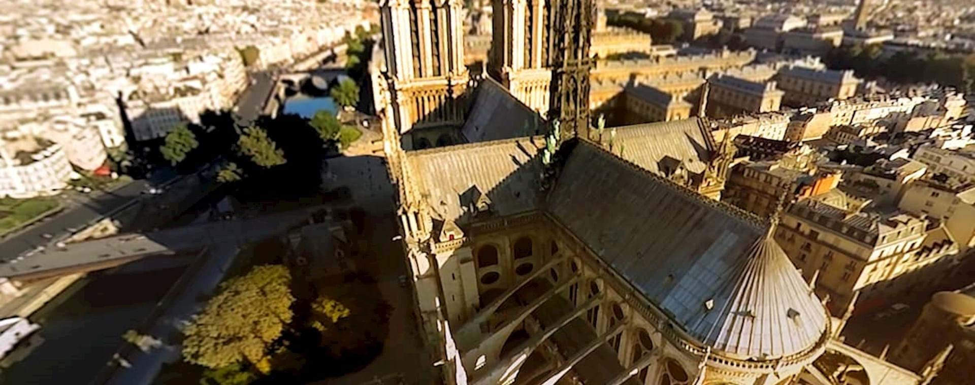 Aerial View of Notre Dame with Flyview in Paris