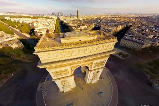 Aerial View of the Arc de Triomphe with FlyView