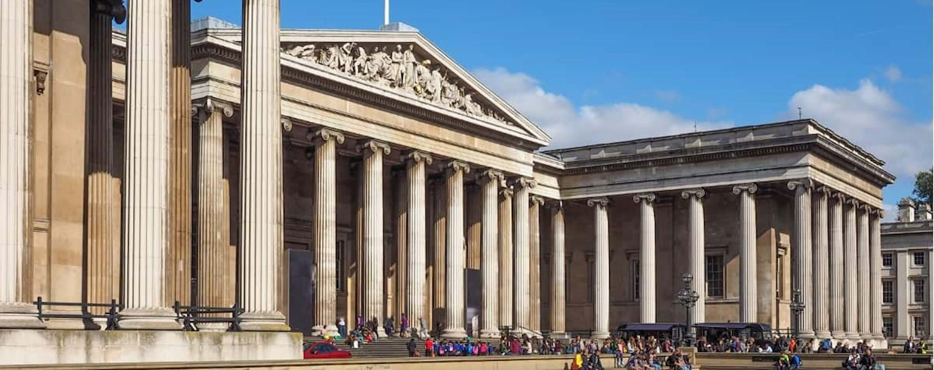 Facade of the British Museum on a sunny day in London