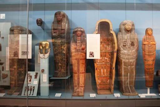 Sarcophagi inside the British Museums