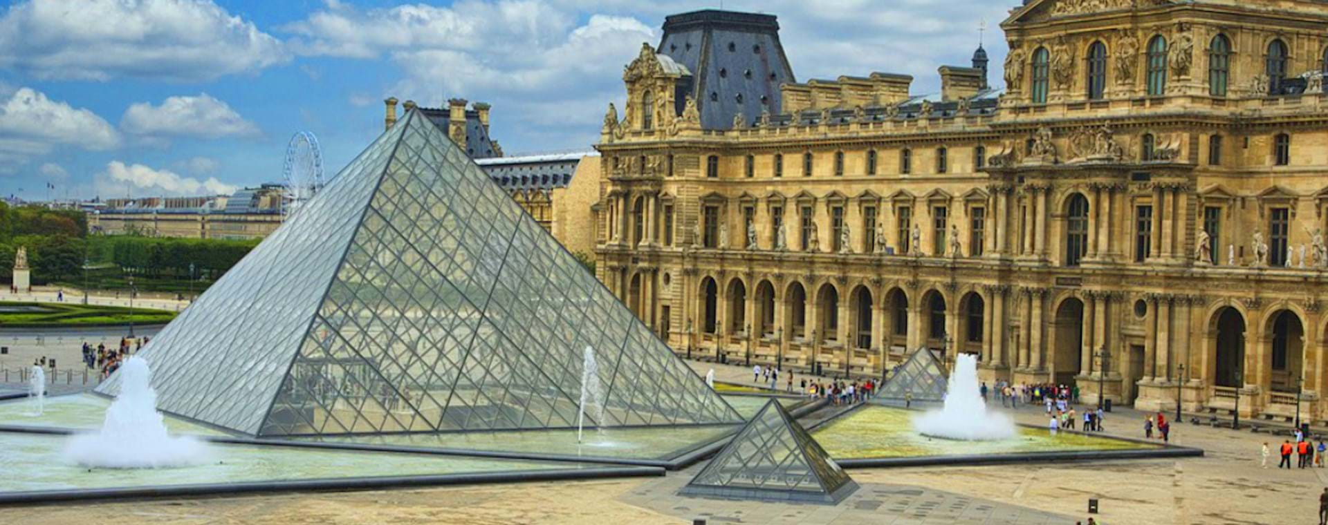 View of the Louvre Museums and the Pyramid