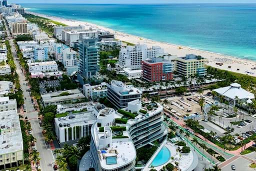View of Miami beach from helicopter