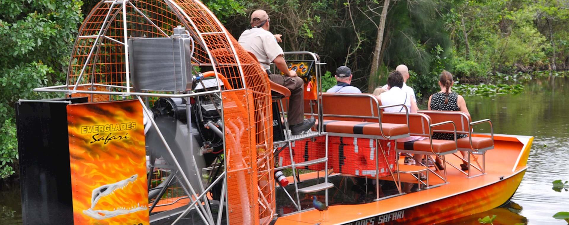orange airboat in Everglades